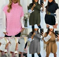 Womens Ladies Cable Knitted High Roll Neck Sleeveless Oversized Jumper Dress Top