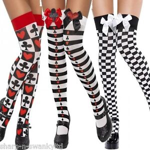 Ladies Black White Striped Cards Chequered Alice in Wonderland Stockings Socks