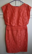 Adrianna Pappell Coral Orange Eyelet Size 8 Casual Summer Dress