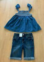 Girls size 8 blue denim summer top  & blue denim knee length shorts Target NEW