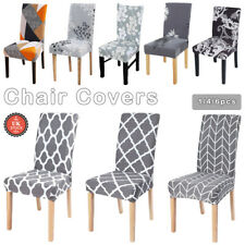 1/4/6 PCS Dining Chair Seat Covers Slip Stretch Wedding Banquet Party Removable