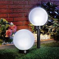 Modern Large Outdoor Solar Powered White Globe Ball Garden Stake Post Lights CHZ