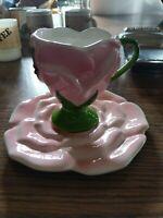 Vintage Pink FTD TELEFLORA ROSE Flower Porcelain TEA CUP and Saucer