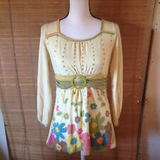Limited Too Sz 18 Long Sleeved Yellow Flower Belted Top