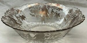 VINTAGE GLASS BOWL WITH CRYSTAL OVERLAY (BIRD PATTERN)