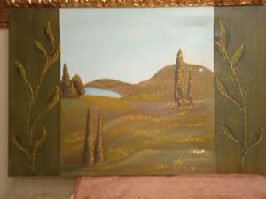 Painting Paesaggio Hand Painted Oil on Canvas 60x90 With Frame Theme Glitter