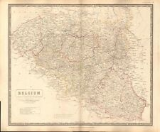 1844 large antique map-Johnston-Belgique