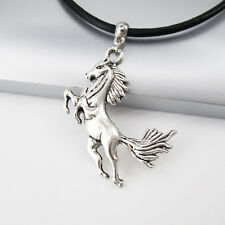 LEGA D'ARGENTO Stallone Mustang Cavallo Occidentale Ciondolo Collana in pelle nera 3 mm