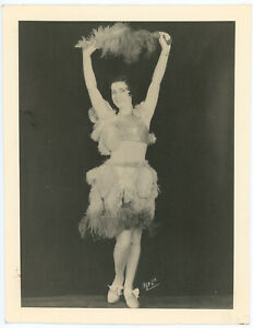 Original 1930s Feathery Dancing Showgirl Vaudeville Burlesque Photograph Vintage