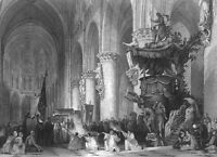 Brussels CATHEDRAL OF SAINT MICHAEL & GUDULE PULPIT ~ 1865 Art Print Engraving