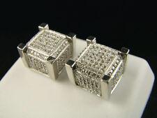 White Gold finish Ice Cube Block Mens/Ladies Diamond Stud Earrings 11 Mm