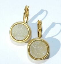 Stunning 24K Yellow Gold Plated Circle Earrings Set with White Agate Stone .