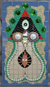 2009 CARLOS MAYOL Mixed media.Arte Cubano.Cuban art.Ceramic,glass on Wood.WOMAN