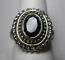 NUOVO, Argento Sterling & 14 CARATI SFACCETTATO ONICE anello