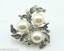 Nueva Plata Tono Luz Crema perlas de imitación de diamantes de imitación Vintage Aleación Flor Broche