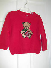 J.KHAKI BABY 24M RED SWEATER W/BROWN TEDDY BEAR LONG SLEEVES NWT- CHILDRENSWEAR