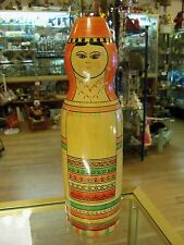 "RUSSIAN HAND PAINTED WOOD BOTTLE COVER DOLL 12 1/2"" TALL"