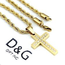 """DG Mens 24"""" Necklace Rope Chain.CROSS CZ Pendant,Stainless-Steel Gold Unisex~Box"""