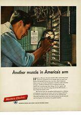 1952 WESTERN ELECTRIC Telephone Installer DENVER GILLEN artist VTG PRINT AD