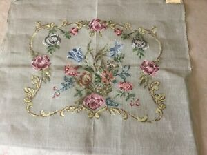 Vintage linen canvas with outline wool design - N. Ireland  - rococo pattern