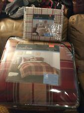 Cuddl Duds Home Red Plaid 4-piece Flannel Comforter Set full queen+ SHEET SET