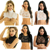 Women See Through Lace Crop Top Sheer Mesh Bouse T-Shirt Vest Tees Shirt Beach