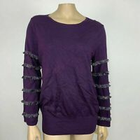 Alfani Metallic Fringe Pullover Sweater Size Small Dark Purple Long Sleeve NEW