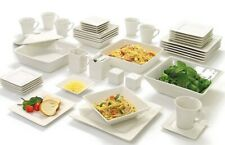 White Square Banquet 45-Piece Porcelain Dinnerware Service for 6 + Serve Set New