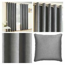 Grey Eyelet Curtains Thermal Block-Out Plain Ready Made Ring Top Curtain Pairs
