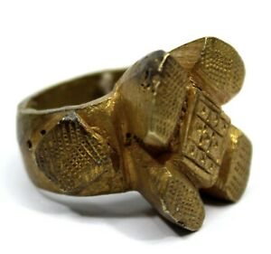 Art Africain - Ancienne Bague de Dignitaire en Bronze Akan Bijoux - 3,1 Cms ++++