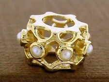 Bd095- Lovely Genuine 9ct Solid Gold Natural Pearl Eternity Bead Charm