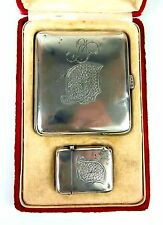 SET OF BOX OF CIGARETTE AND BOX OF MATCHES. SILVER PUNCHED. SPAIN. END XIX.