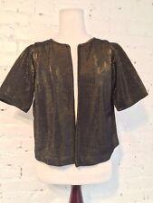 VTG 80s Etienne de Paris Metallic Bolero Crop Jacket Short Sleeve Black Gold S