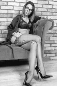 Semi Nude B/W Photo- Brunette On Sofa- Spiked Heels- Long Legs- Stockings- Bra