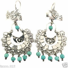 Silver Turquoise Bird Earrings Mexico Frida Kahlo Style Taxco Mexican Sterling
