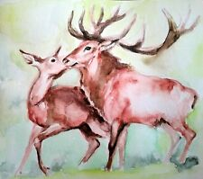 Nature lover gift,deer stag art,wildlife watercolor painting on paper,kiss,love