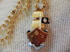 Pirate Ship Beads Mardi Gras Necklace Small Gold tone Costume Gasparilla