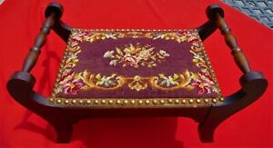 """ANTIQUE NEEDLEPOINT/ WOODEN FOOT STOOL ~ DOUBLE HANDLE ~ BRASS TACKS ~ 14"""" x 23"""""""