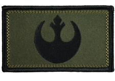 "Star Wars Rebel Tactical Hook and Loop Embroidered Black & Olive Green 2"" X 3.5"""