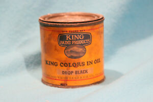 VINTAGE KING PAINT PRODUCTS - COLORS IN OIL - DROP BLACK- FEELS FULL -COLLECTORS