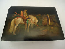 Old Rare FEDOSKINO 1959 Russian Lacquer Box - Knight at the Crossroad -Signed