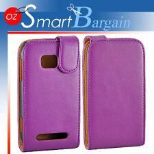 Premium PURPLE Flip Leather Case Cover For Nokia Lumia 710 + Screen Protector
