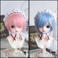 "New Hot 1/4 7-8""BJD SD MSD Hair Sweet Pink/ Water Blue Color Medium Straight Wig"