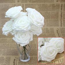 10 Rose Finte Fiori Artificiali Bianco Spugna per Nozze Cerimonia Feste Giardino