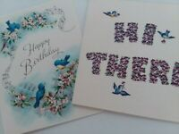 2 UNUSED Vtg BLUEBIRD Happy BIRTHDAY GREETING CARDS