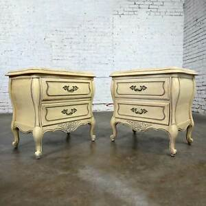 Prince Howard French Provincial Hollywood Regency Antique White Nightstands a Pr