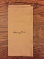 "NEW GIANVITO ROSSI tan cotton Drawstring Dust Travel Storage Bag 7.25"" X 15"""