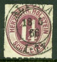 Germany 1866 Herzogthum Holstein 1¼ Sh Brown SG #66 VFU G271 ⭐⭐⭐⭐⭐