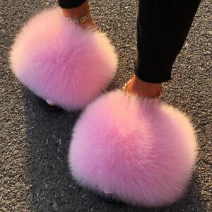 Women's Real Farm Fox Racc00n Fur Slides Extra Large Fur Slippers Furry Fluffy