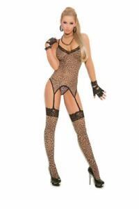 Animal Print Leopard Corset Top with G string and Stockings